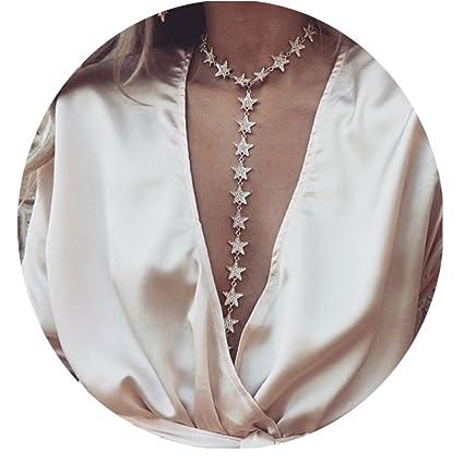 c48af808ec Elegant Luxury Harness Summer Bikini Body Chain Necklace Simple Star Choker  Bralette Belly Waist Chain Jewelry