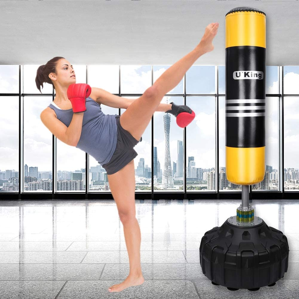 Heavy Duty Punching Bag with Strong Suction Base for Kick Boxing Martial Ats Excellent Dummy for Boxing MMA Training Uking Free Standing Punch Bag