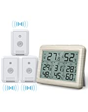 AMIR Indoor Outdoor Thermometer, 3 Channels Digital Hygrometer Thermometer with 3 Sensor, Humidity Monitor Wireless with LCD Display, Room Thermometer and Humidity Gauge for Home, Office(Wooden White)
