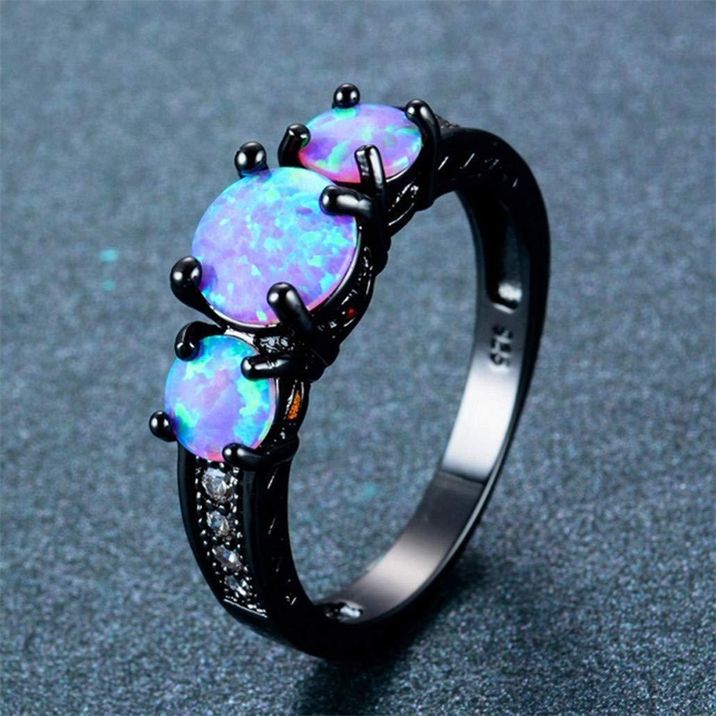 Nyaole exquis femelle rond Bleu opale de feu Bague en or noir Bagues de mariage pour femme vintage Bijoux