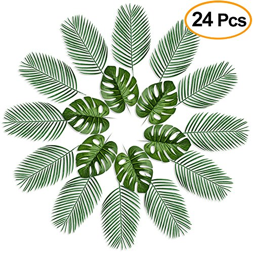 FEPITO 24 Pcs Large Artificial Tropical Palm Monstera Leaves 2 Styles Faux Tropical Plant Leaves for Hawaiian Safari Jungle Moana Theme Birthday Party Green Luau Party Home Decorations Supplies by FEPITO
