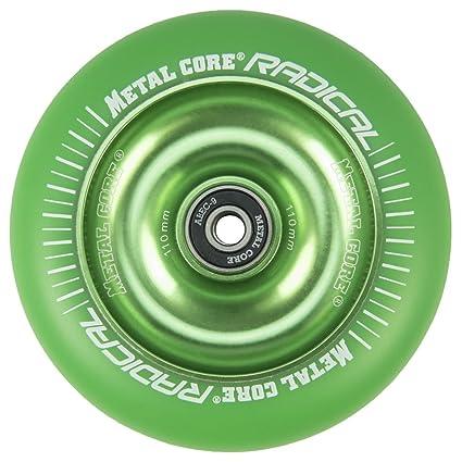 Metal Core Rueda Radical Monocromática para Scooter Freestyle, Diámetro 110 mm (Verde)