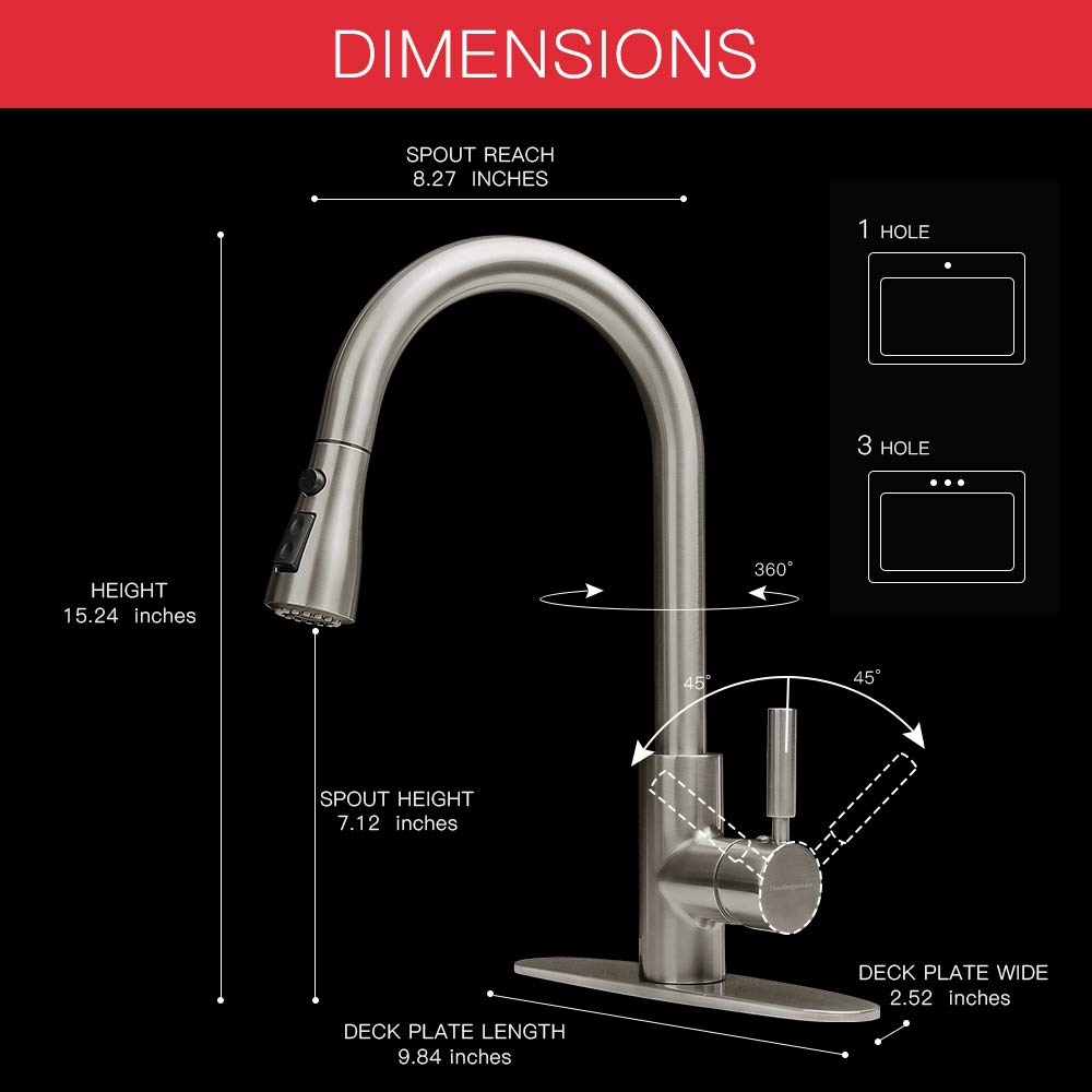 Houtingmaan Brushed Nickel Single Handle Kitchen Faucets with Pull Down Sprayer, High Arc Pull Out Kitchen Sink Faucet with Deck Plate, 3 Functions, cUPC/NSF Certified by Houtingmaan (Image #4)