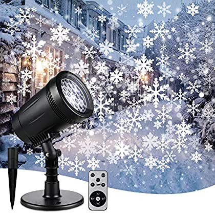 Christmas Projector Lights Outdoor Indoor,Snowflake Decorative Lights with Remote Control,Landscape Snowfall Lighting…