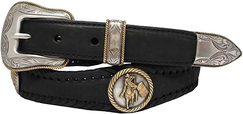 Pele Belt Men Oil-Tanned Leather Laced Silver Gold Rider Concho Floral Buckle