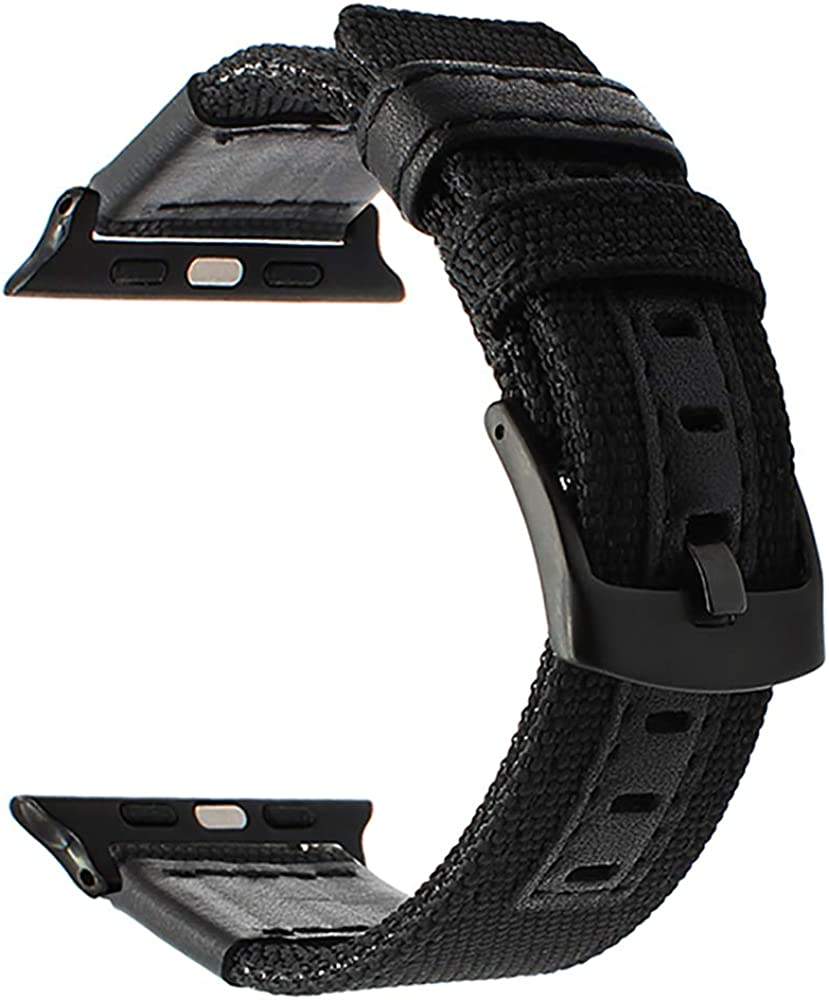 Compatible with Apple Watch Band Woven Nylon Watchband Genuine Leather Sport Strap Replacement for iWatch Series
