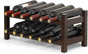 COSTWAY Wine Rack, Bamboo 12 Bottles 2-Tier Wine Display Rack for Countertop Home Kitchen Pantry, Free Standing Wine Storage, Rack Tabletop Wine Rack (Brown)