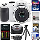 KODAK PIXPRO AZ252 Astro Zoom Digital Camera (White) with 32GB Card + Batteries & Charger + Case + Tripod Kit