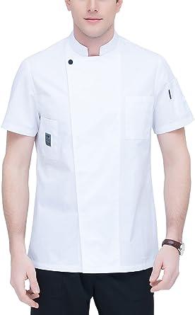 Veste de chef cuisinier manches courtes homme bleu