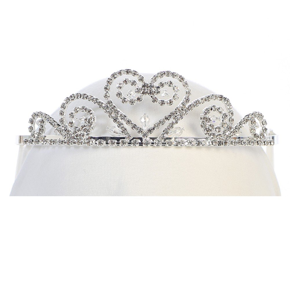 Angels Garment Girls Silver Tone Rhinestone Scroll Heart Headpiece Tiara