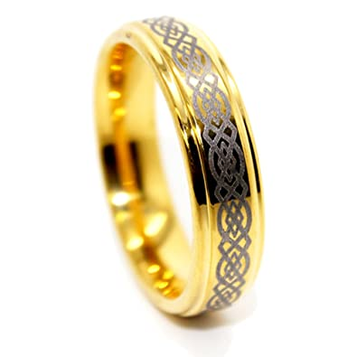 thin 6mm celtic knot golden colored tungsten wedding band size 115