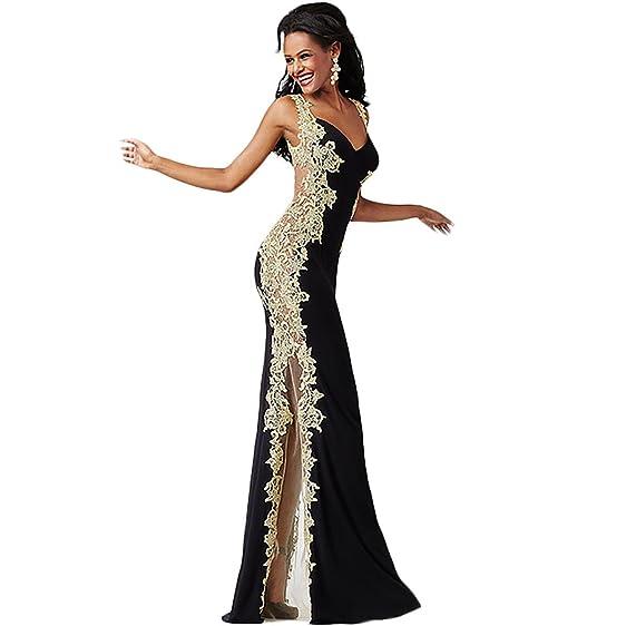Jovani Applique Illusion Formal Dress Black 4 at Amazon Women\'s ...
