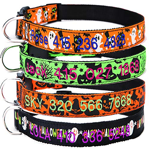 Moonpet Halloween Dog Collar - Custom Personalized Dog Collar with Embroidered Dog Name and Phone Number - 4 Cute Pattern and 3 Size for Small Medium Large -