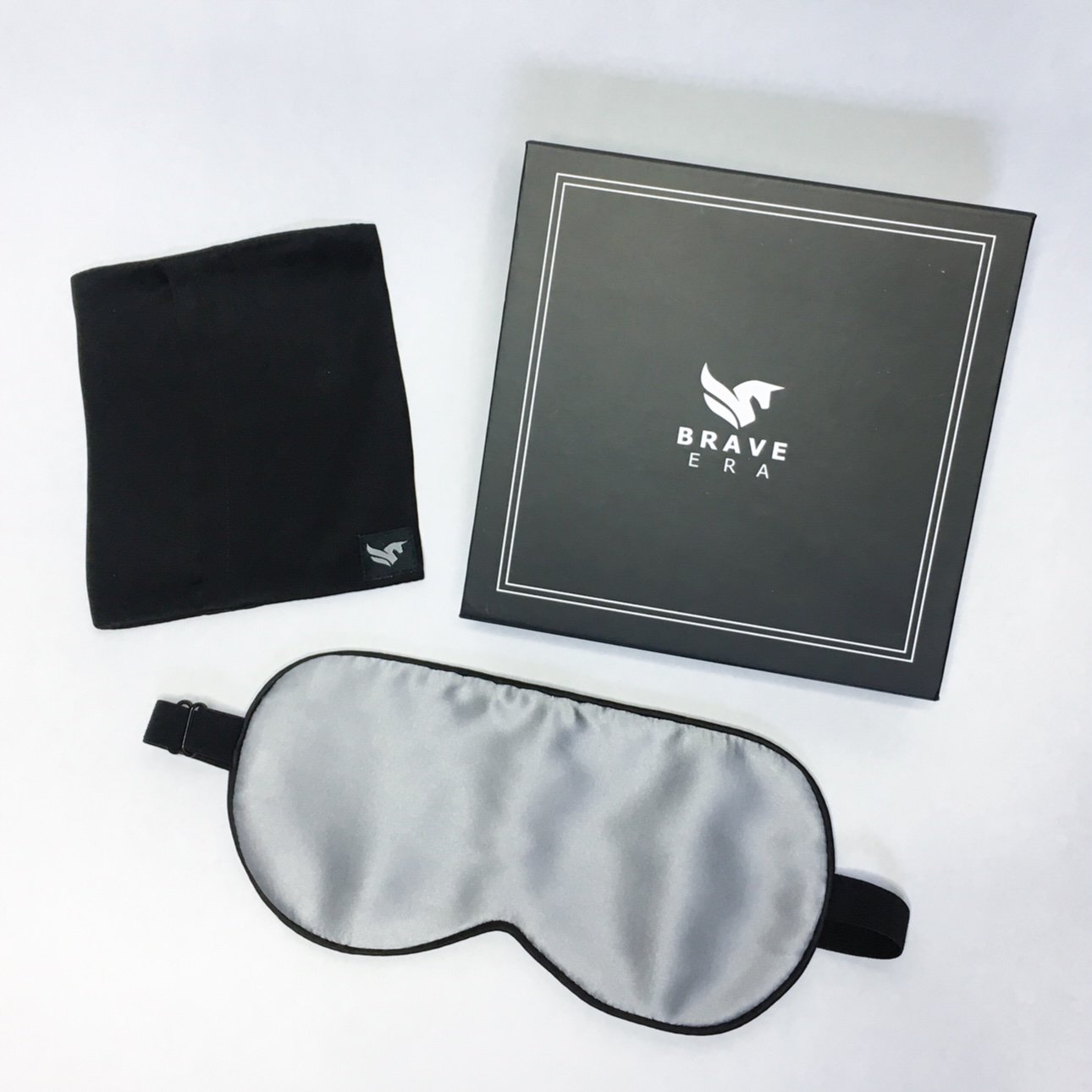 BRAVE ERA 100% Mulberry Silk Hypoallergenic Sleep Mask with Compact Travel Pouch and Gift Box (Sharkskin Gray)