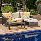 Caspian Outdoor L Shaped Multibrown Wicker Sectional Sofa Set with Beige Water Resistant Cushions