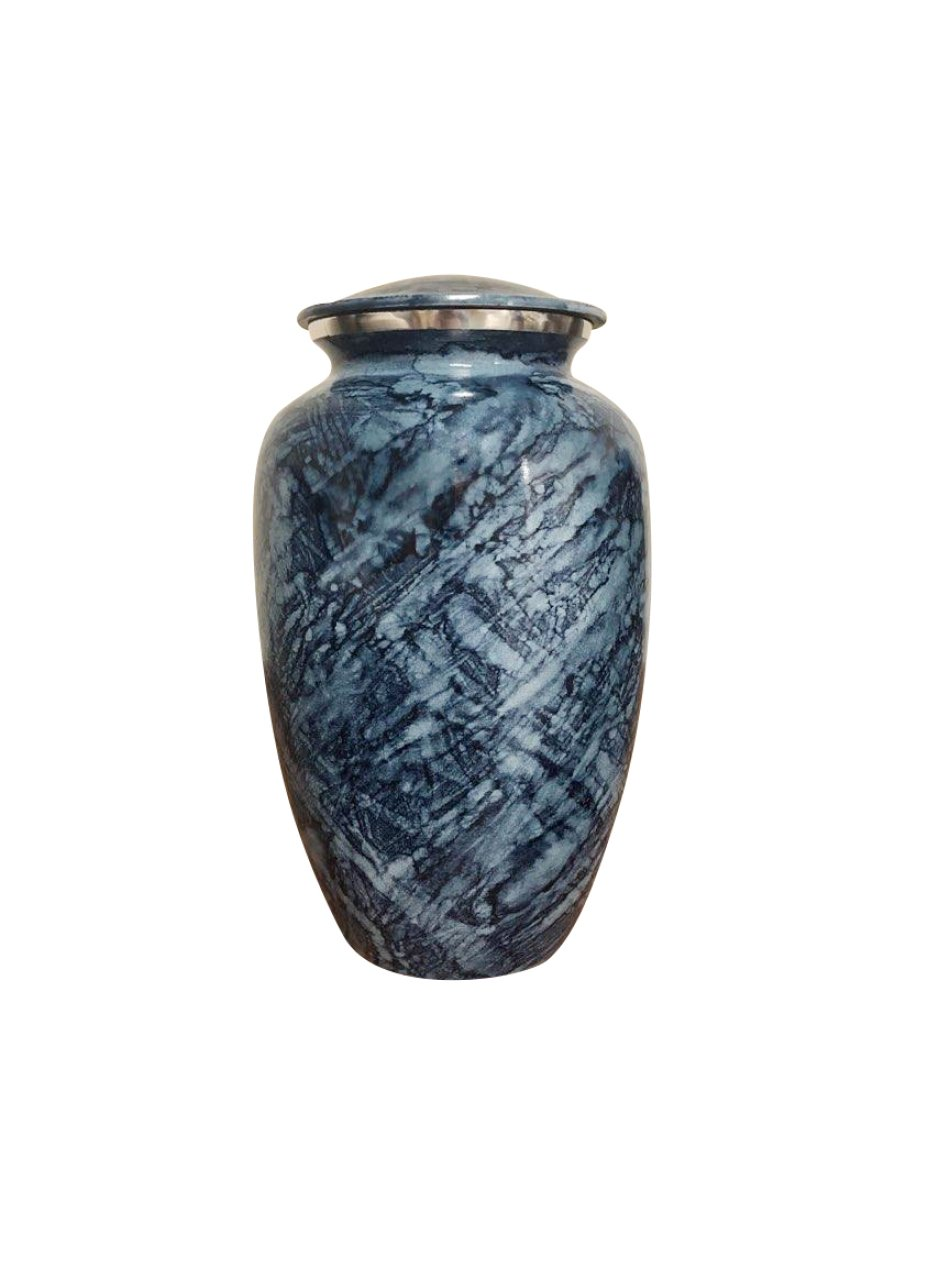 KeepsakesForever Blue Marble Cremation Urn - Handcrafted Adult Urn Large - Affordable Funeral Urn for Human Ashes - 200 Cubic In.
