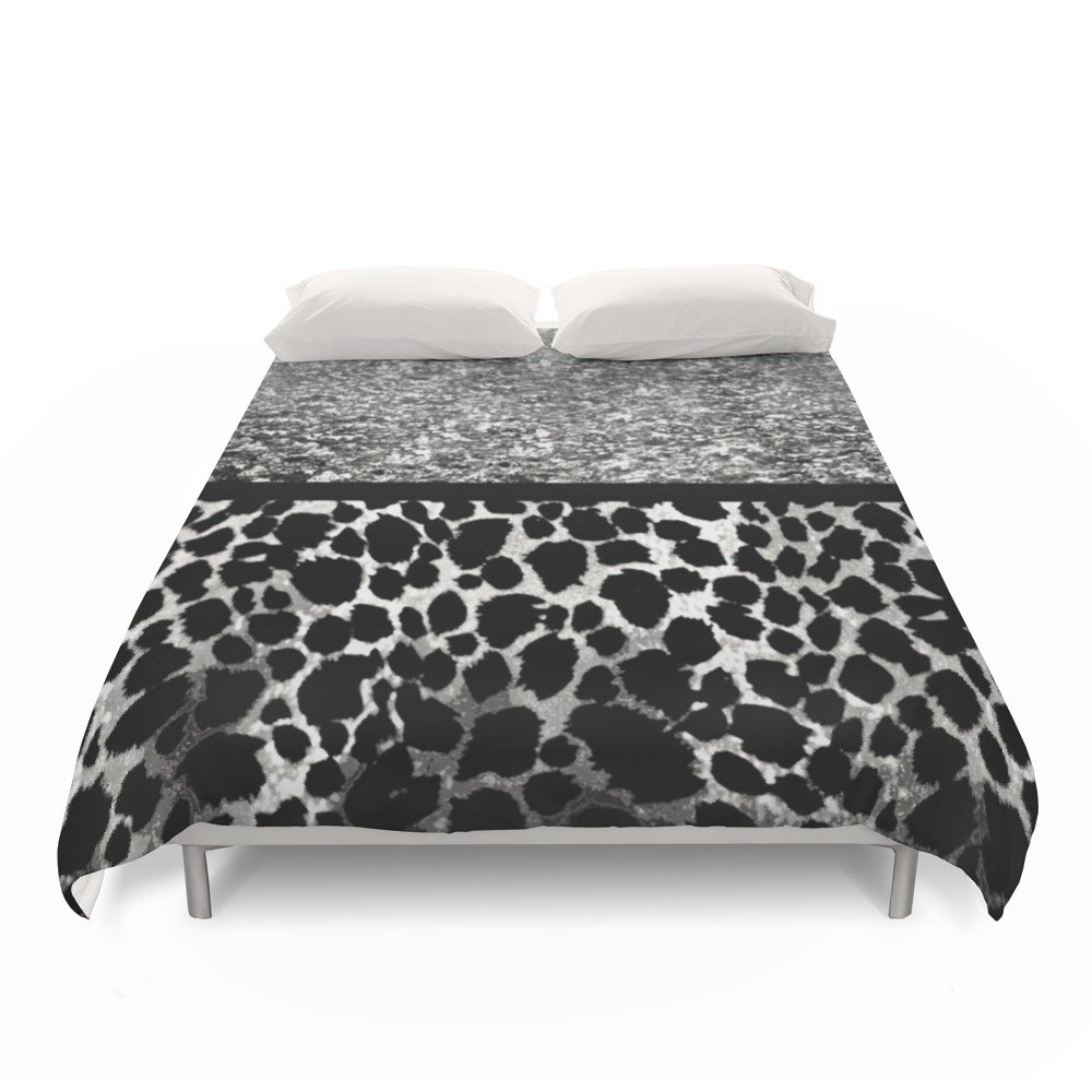 Society6 Animal Print Leopard Silver And Black Duvet Covers Full: 79'' x 79''