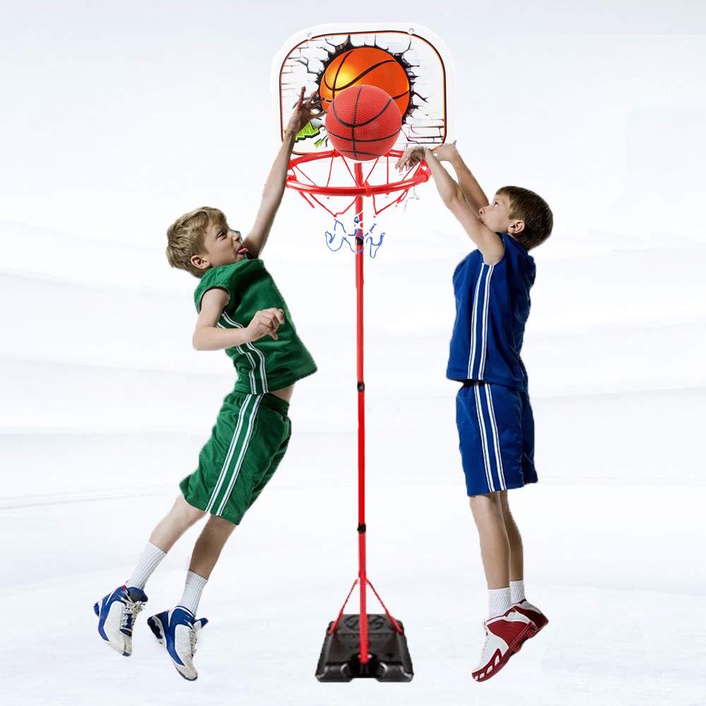 HANMUN Basketball Hoop for Kids Set Adjustable Portable Basketball Set 2-in-1 2019 TOP19044 Kids Basketball Stand Sport Game Play Set Net , Ball and air Pump Inclued 3+ Years Toddler Baby Sport by HANMUN