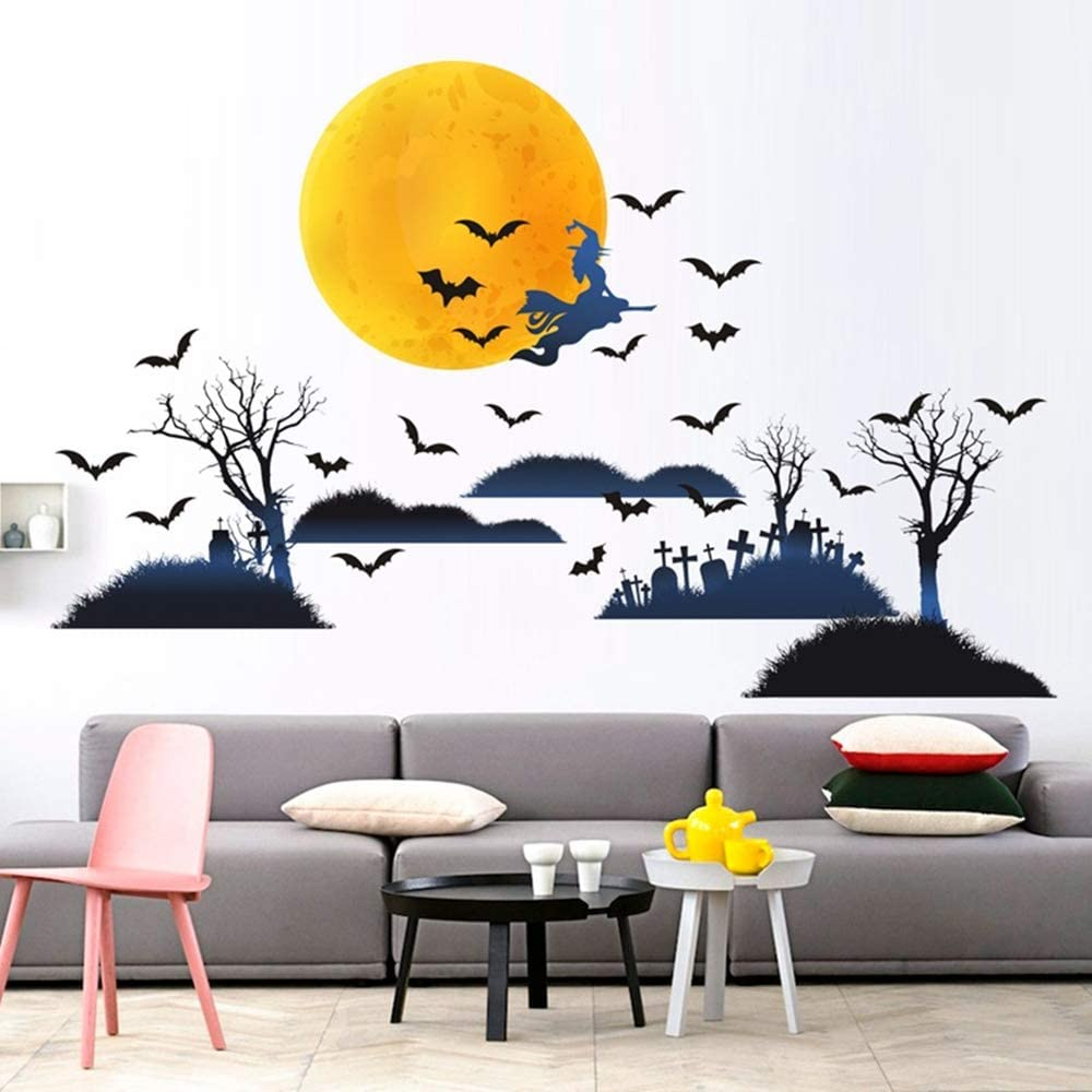 Mendom Halloween Wall Decals,DIY Halloween Decorations Party Supplies,Yellow Moon and Cemetery