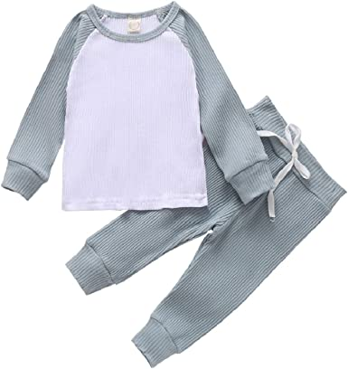 Baby Girls Boys 2 Pieces Pants Set Striped Knitted Long Sleeve Tops /& Pants Pajamas Set Infant Toddler Fall Outfits