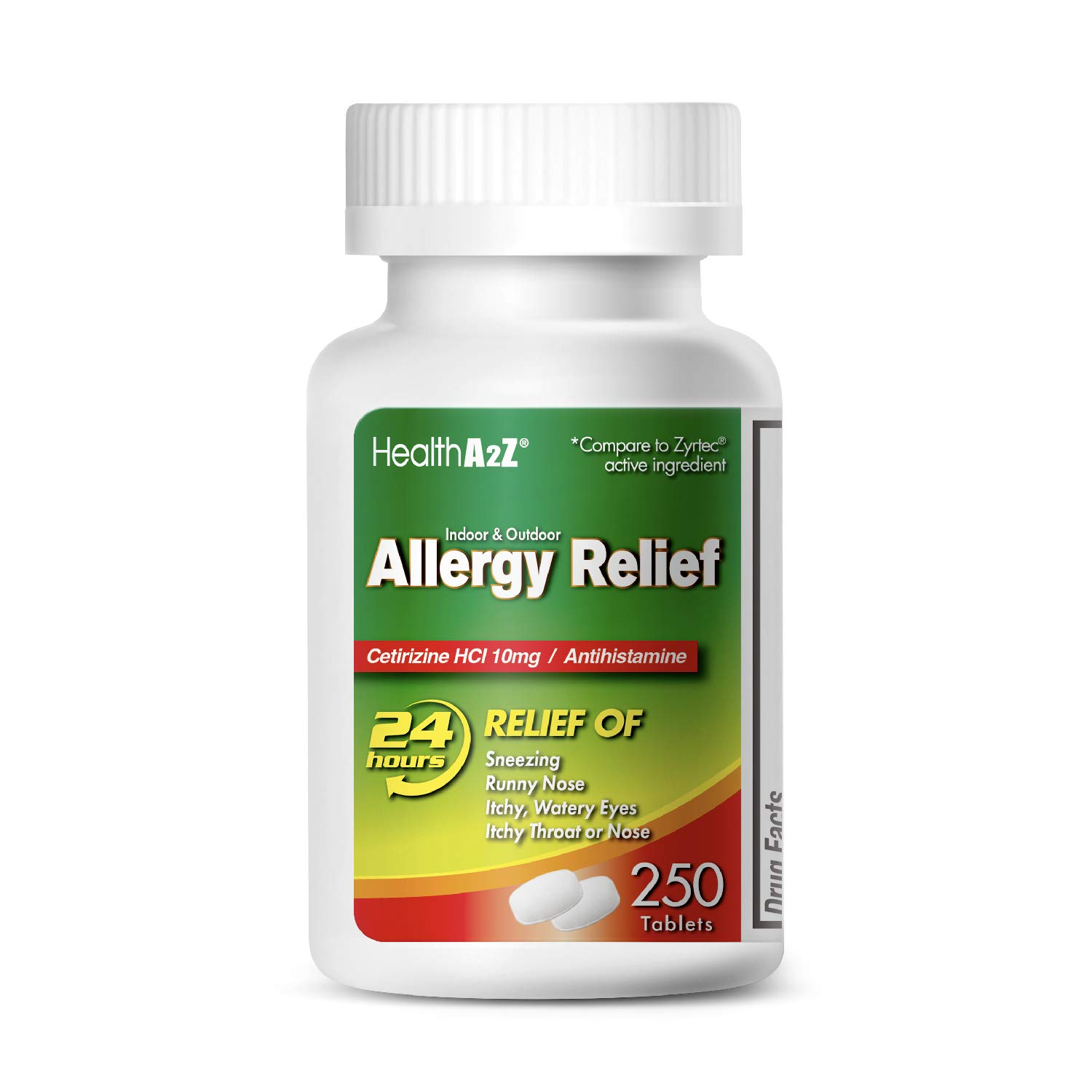 HealthA2Z Allergy Relief, Cetirizine HCL 10mg, 250 Count Compare to Zyrtec® Active Ingredient. by HealthA2Z