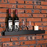 MyGift 23-Inch Modern Wall Mounted Metal Floating Shelf with Cutout WINE Letters