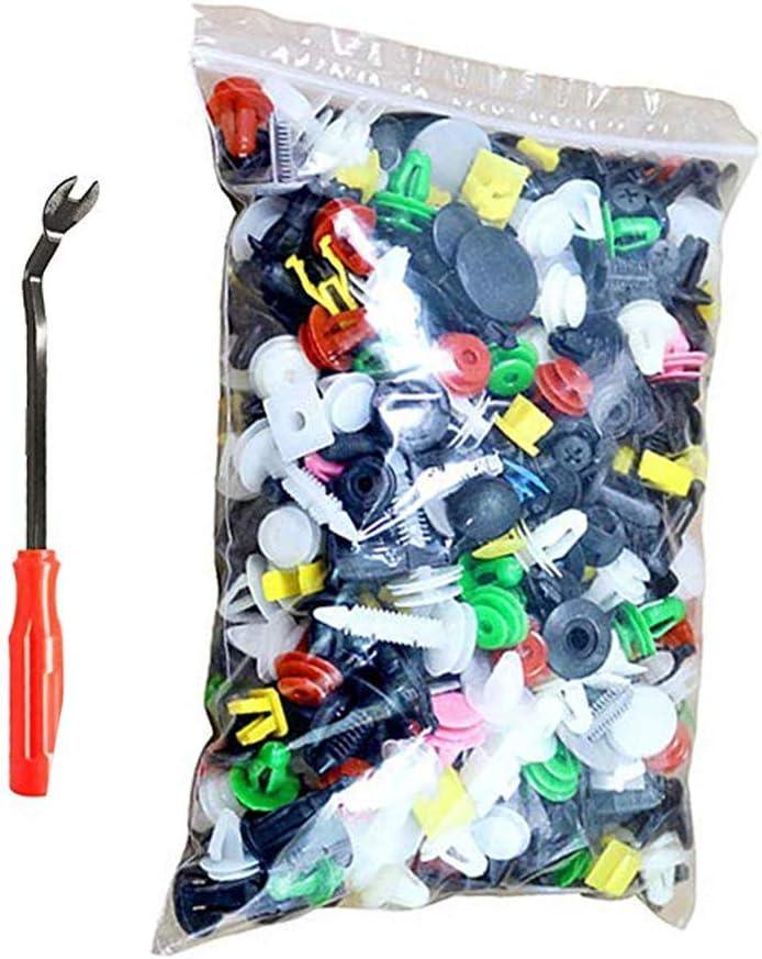 Caja de Herramientas, 500 Unidades, Abrazaderas para Paneles de Puerta, Clips para fijación de Parachoques, Cierre Remache de Plastico Tipo de Empuje para Guardabarros de Coche