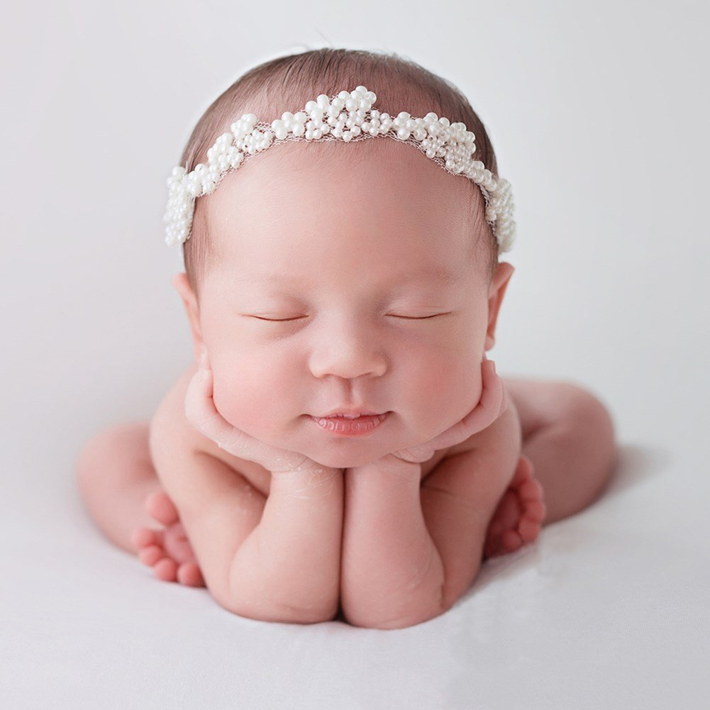 Amazon com zeroest baby photography props pearl headband newborn photo prop rhinestone hair accessories white clothing