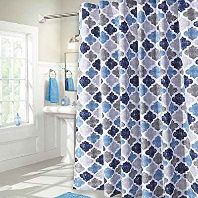 "Haperlare Fabric Shower Curtain, Geometric Pattern Shower Curtain for Bathroom Showers and Bathtub, Cotton Blend Fabric Bath Curtain for Bathroom Decoration, 72"" x 72"", Gray and Dark Blue - QUALITY MATERIAL: Our shower curtain with soft hand feel is made of a 75% polyester/25% cotton blend fabric, odorless, eco-friendly and durable, thick material. Instantly upgrades any bath to create a relaxing spa-like environment. BATHROOM DECORATIONS: The fabric shower curtain provides perfect privacy and decorative appeal. Inspired by the feeling of stylish and elegant, the moroccan Geometric pattern shower curtain can also instantly update any bathroom decor theme. SERVE WELL: Bold graphics printed adds real value and depth to your decor. This unique & modern designs match well with various color palettes of towels, rugs, bathroom mats and any other bathroom accessories. But still Use of a liner recommended. - shower-curtains, bathroom-linens, bathroom - 61C4qT67T2L. SS400  -"