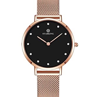 STARKING Womens Minimalist Ultra Thin Rose Gold Watch Black BL0997 Analog Japanese Quartz Stainless Steel Mesh
