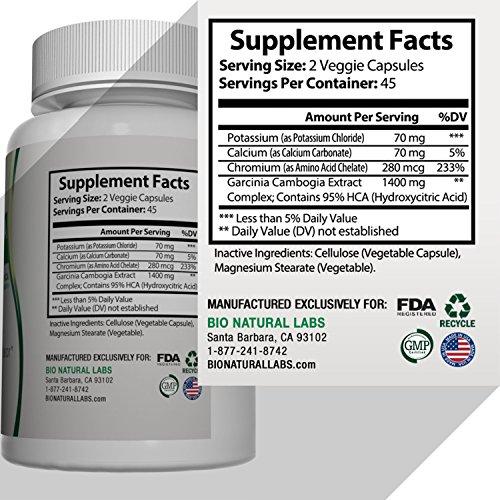 Pure Garcinia Cambogia Extract 95% HCA - Maximum Strength. Fat Burner, Appetite Suppressant, Energy Booster ,Weight Loss Supplement. Carb Blocker, Metabolism Support. 1400mg per serving, 90 Veg Caps