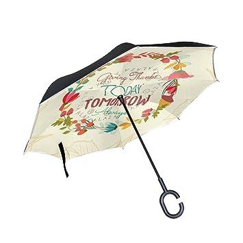 bennigiry paraguas invertido de acción de gracias – Reverse plegable del revés Upside Down – Paraguas