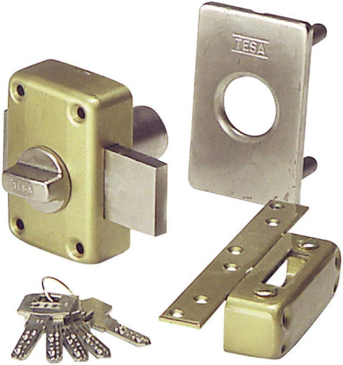 Tesa Assa Abloy Latonado Cerrojo de seguridad con llave exterior e interior 2111TE4E