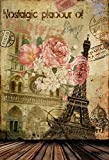 OFILA Retro Backdrop 5x7ft Eiffel Tower Vintage Buildings Flowers Nostalgic European Style Photos Mottled Texture Plank Floordrop Party Event Background Travel Interior Wallpaper Model Portraits Props