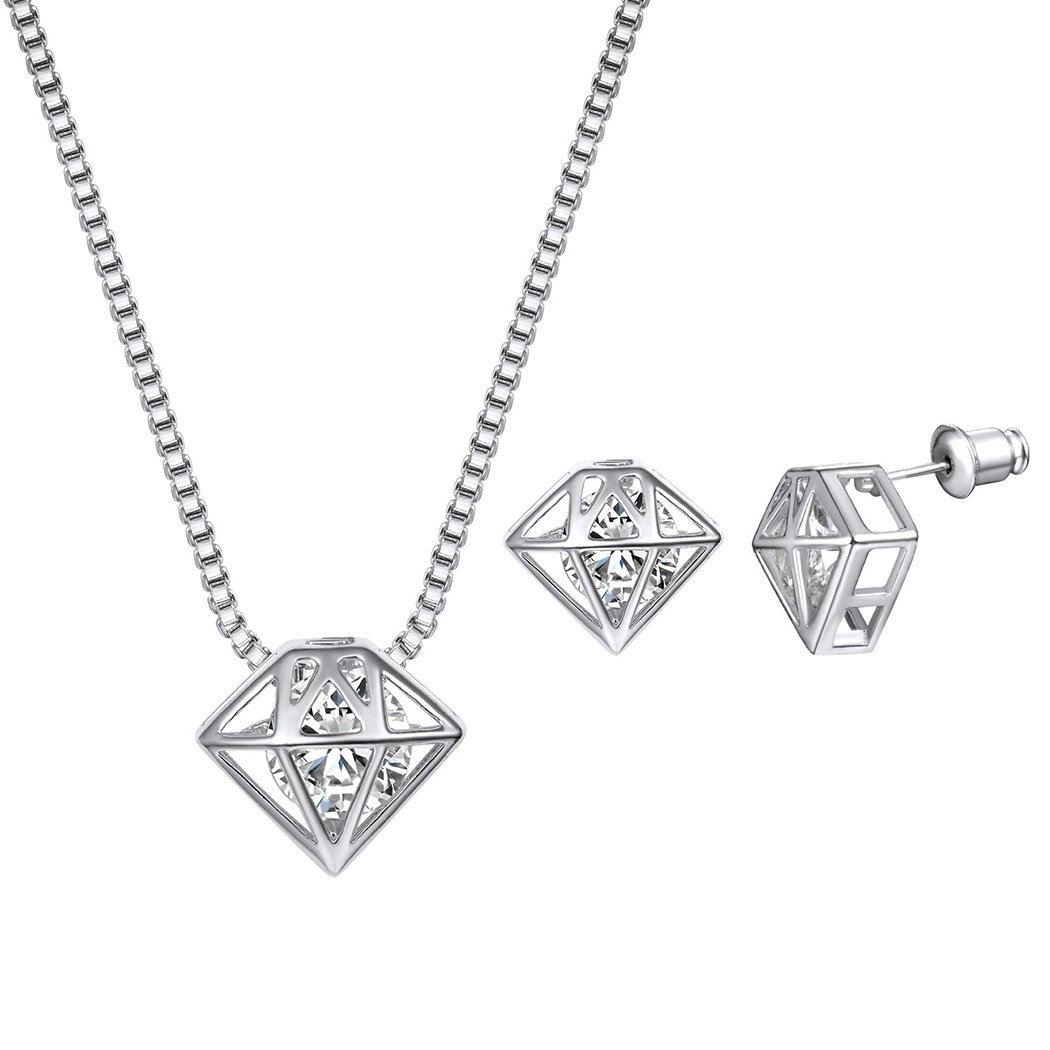 Diamond Shaped Stud Earrings&Pendant Necklace with Cubic Zirconia Little Unique Diamond Necklace,3D Geometric Necklace Earrings Jewelry Set 18k Gold Plated Suplight Jewelry LPE8067K