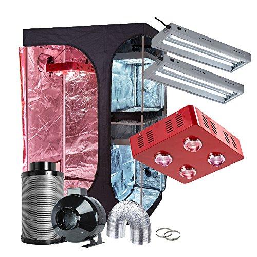 $547.55 TopoGrow 2-in-1 48″x36″x72″ Indoor Grow Tent Germination Kit+LED 800W COB Grow Light Kit Full Spectrum+ 2T5 2FT 24W 6500K Fluorescent Grow Light Kit for Seed Starter +6″ Ventilation Kit 2019