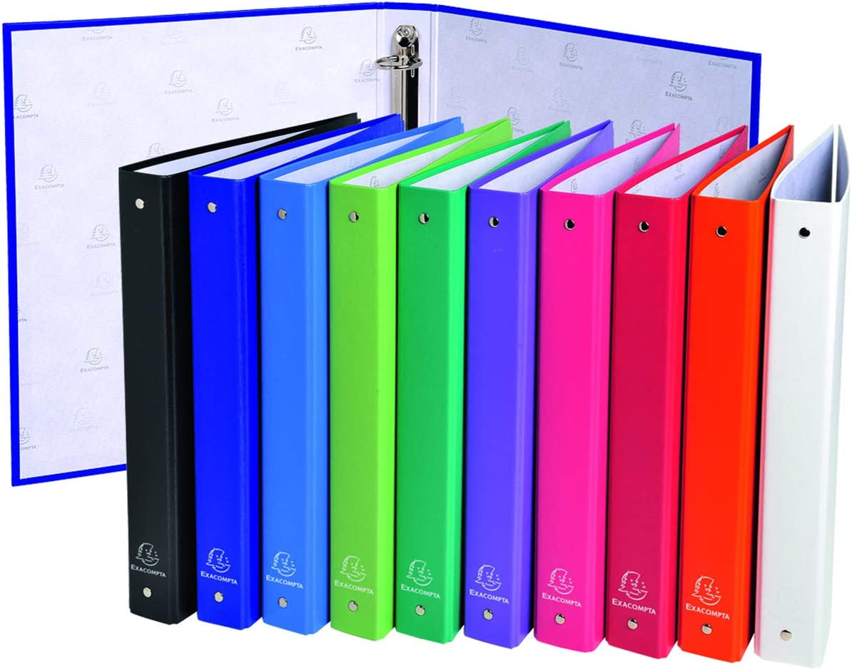A4 Exacompta PP Crystal Ring Binder Pack of 30 4 Ring 15 mm Spine Assorted colours