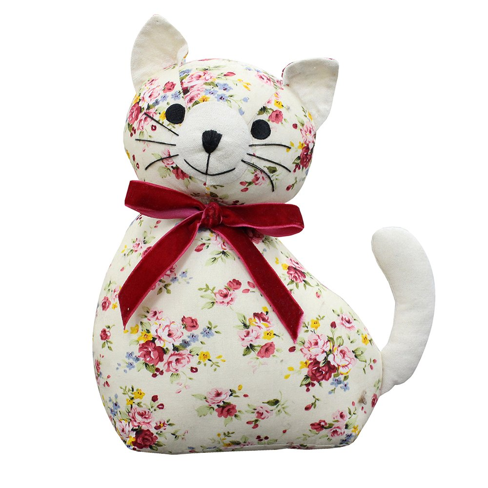 Riva Paoletti Floral Cat Novelty Doorstop - White Floral Print - Heavyweight Sand and Polyester Filling - 100% Cotton - 18 x 10 x 24cm (7