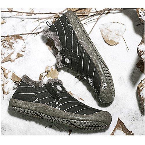 Ogni Neve Stivali Impermeabili Antiscivolo, Super Leggero Caldo Moda Strisce Da Sci Allaperto Per Le Donne Uomini Nero / Basso