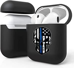 Bemz [Slim Lightweight] Protective Case Cover for Apple AirPods (Gen 1, 2) - Thin Blue Line Skull