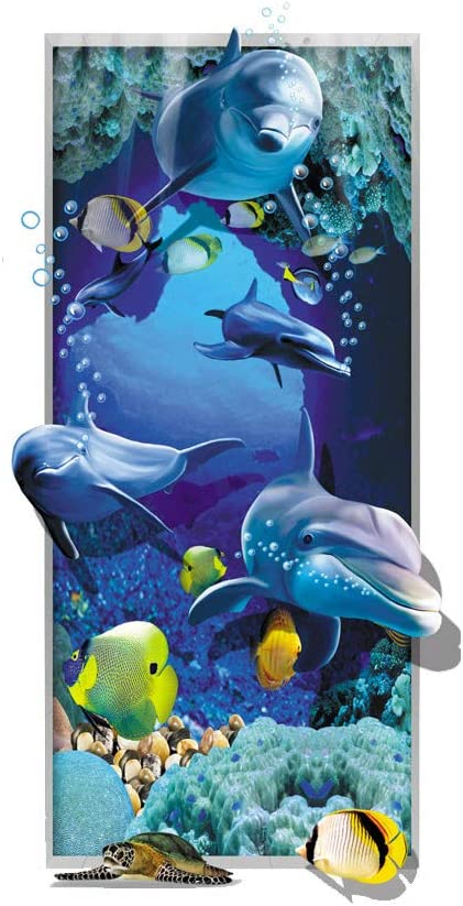 Strungten Wandtattoo Wandaufkleber 3D Fenster Tier Delphin Unterwasserwelt Delfine Marine Meer Wandbild Wohnzimmer Schlafzimmer Kinderzimmer Deko Badzimmer wasserdichte K/ühlschrankaufkleber