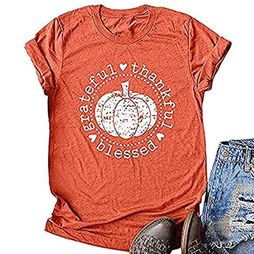 Halloween Themed Shirts (Beopjesk Women's Fall Halloween Shirts Funny Pumpkin Thankful Blessed Grateful Thanksgiving Graphic Tees Tops (XL, Short Sleeve -)