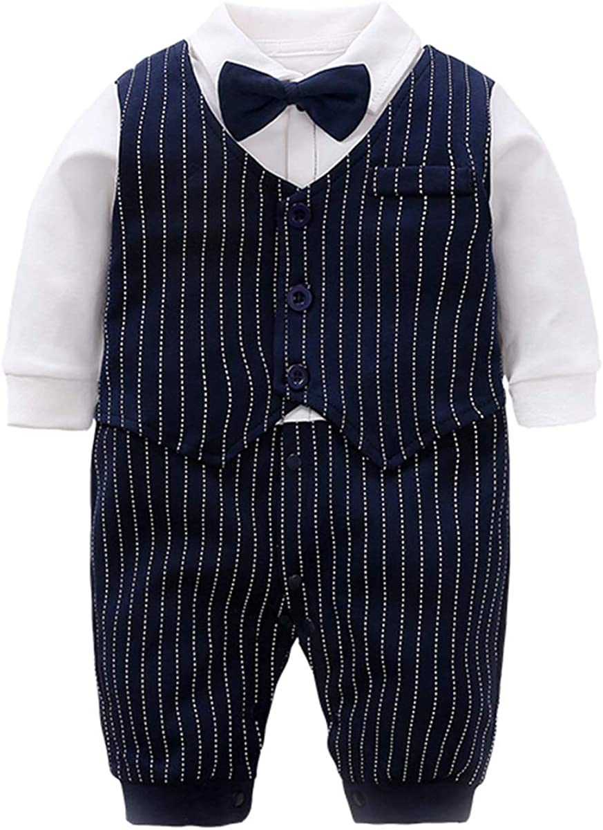 Fairy Baby Baby Tuxedo Suits Boys Formal Gentleman Outfit Dress Clothes One-Piece Romper Wedding Outfit