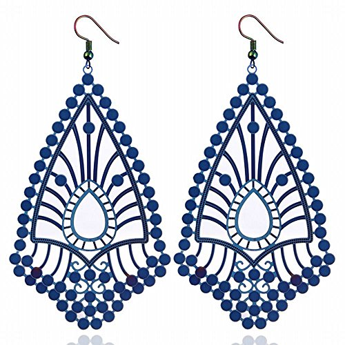 - Stainless steel long hollowed out earrings geometric water drops exaggerated earrings jewelry