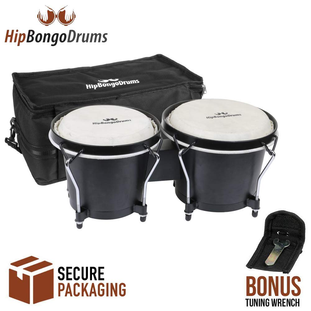 Bongo Drum Set for Adults Kids Beginners Professionals [Upgrade Packaging] - 2 Sets 6'' and 7'' Tunable Percussion Kit - Natural Animal Skin Hides Hickory Shells Wood and Metal with Tuning Wrench by Hip Bongo Drums