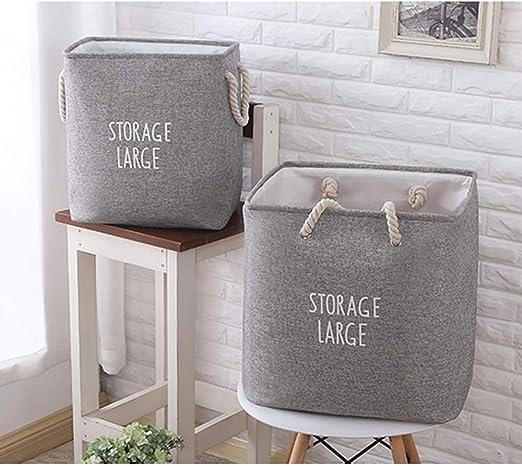 TVMALL Cesta de almacenamiento grande plegable algodón y lino ...