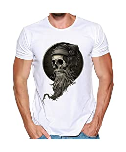 Camiseta de Manga Corta para Hombre Moda Estampado Slim Fit Suelto Casuales Algodón Cómodo Transpirables Cuello Redondo Deportivo Casual Camiseta