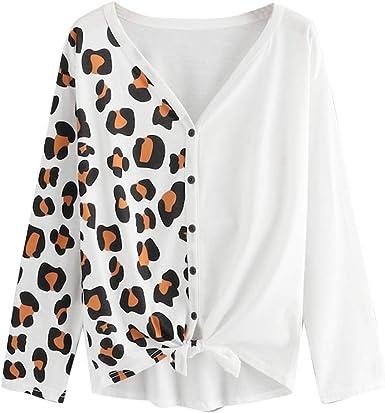 Luckycat Ropa Camisetas Mujer, Estampado de Leopardo Patchwork Blusa para Mujer Camisetas Mujer Camisas Mujer Tops Tallas Grandes Mujer: Amazon.es: Ropa y accesorios
