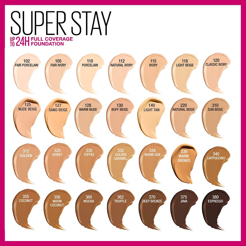 2e9f9ae934a Amazon.com: Maybelline New York Super Stay Full Coverage Liquid Foundation  Makeup, Warm Bronze, 1 Fluid Ounce: Beauty