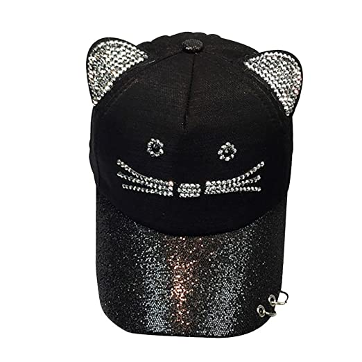 b79dc8c3809 Women Girls Cute Studded Rhinestone Cat Face Ear Baseball Cap with Rings Sequin  Brim